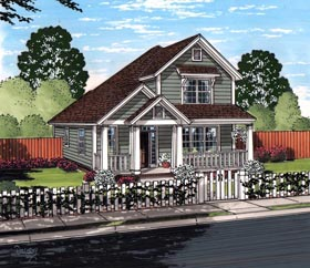 Cottage Craftsman Traditional House Plan 61465 Elevation