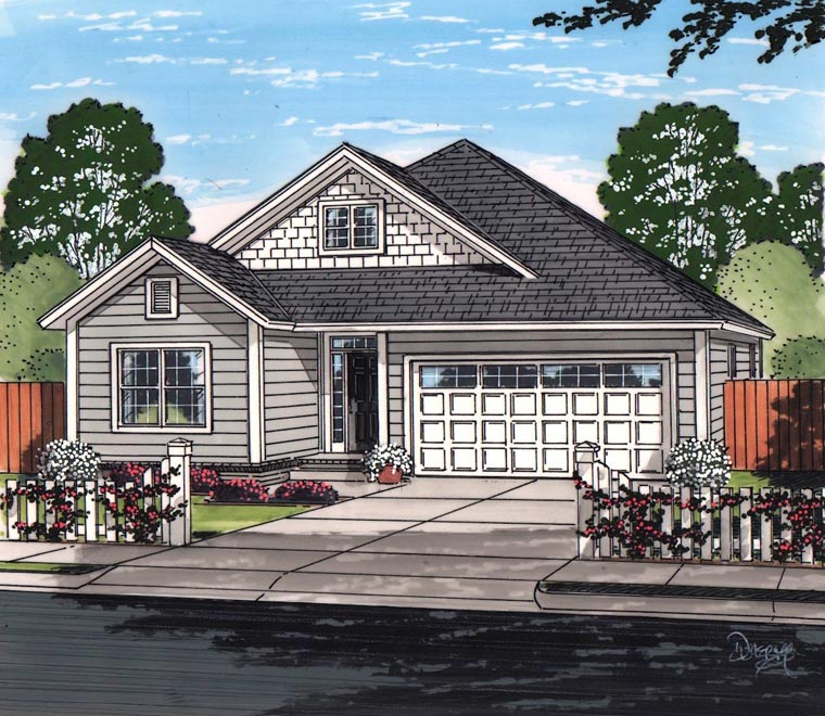 Cottage, Craftsman, Traditional House Plan 61466 with 3 Beds, 2 Baths, 2 Car Garage Elevation