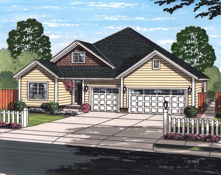 Cottage Craftsman Traditional House Plan 61467 Elevation