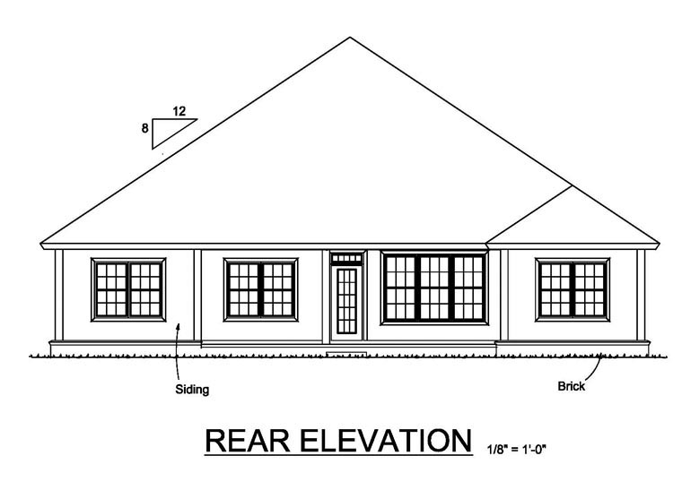 Cottage Craftsman Traditional House Plan 61467 Rear Elevation