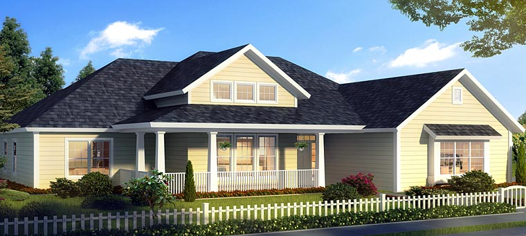 Country, Ranch, Traditional House Plan 61468 with 4 Beds, 3 Baths, 3 Car Garage Elevation