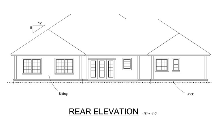 Country, Ranch, Traditional House Plan 61468 with 4 Beds, 3 Baths, 3 Car Garage Rear Elevation