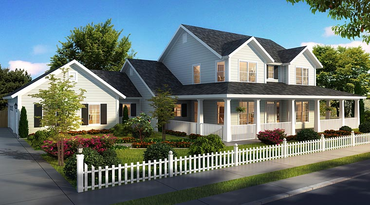 Cape Cod Country Farmhouse Southern Elevation of Plan 61470