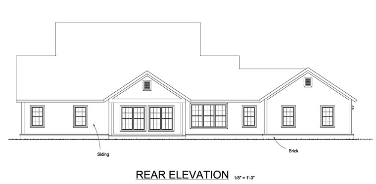 Cape Cod Country Farmhouse Southern Rear Elevation of Plan 61470
