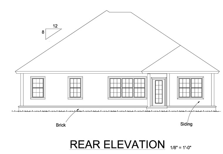 Ranch Traditional House Plan 61471 Rear Elevation