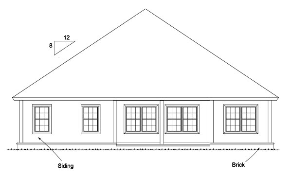 Bungalow Country Traditional House Plan 61472 Rear Elevation