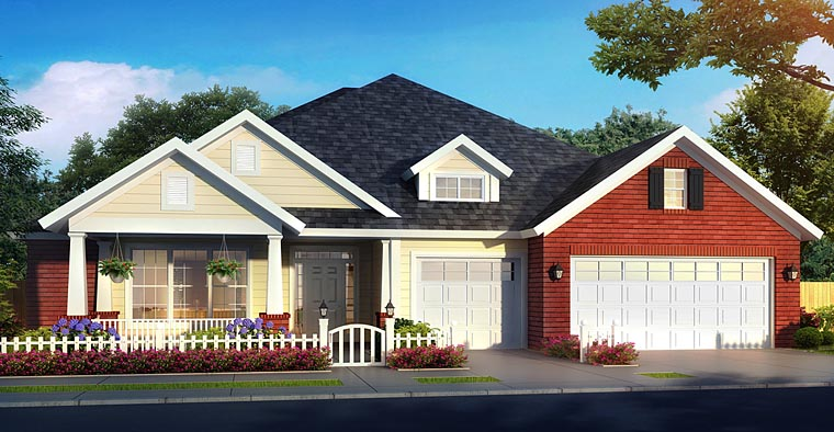 Bungalow , Cottage , Country , Traditional House Plan 61473 with 4 Beds, 4 Baths, 3 Car Garage Elevation