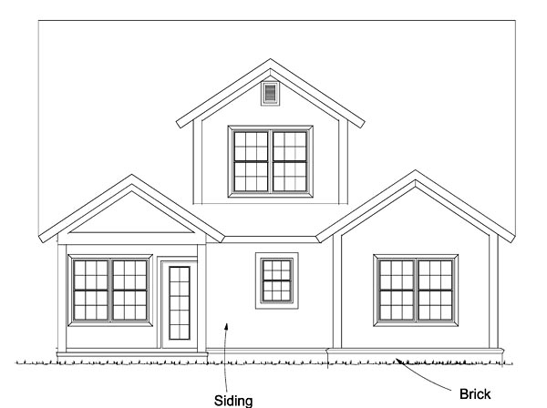 House Plan 61474 | Cape, Cod, Cottage, Country, Traditional Style House Plan with 2167 Sq Ft, 4 Bed, 3 Bath Rear Elevation