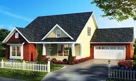 House Plan 61475 | Bungalow Cottage Country Traditional Style Plan with 2167 Sq Ft, 4 Bedrooms, 3 Bathrooms, 2 Car Garage Elevation