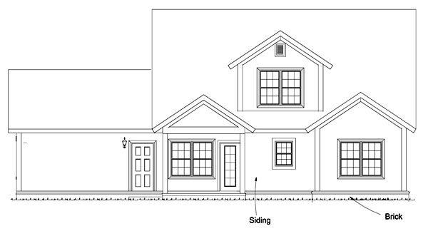 Bungalow Cottage Country Traditional House Plan 61475 Rear Elevation