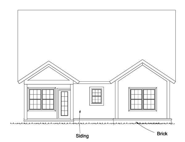 Southern , Country , Cottage House Plan 61476 with 3 Beds, 3 Baths Rear Elevation