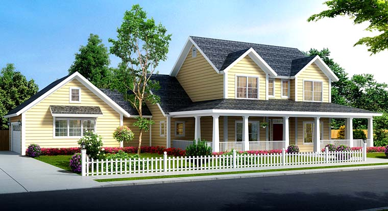 Country Farmhouse Southern Traditional House Plan 61480 Elevation