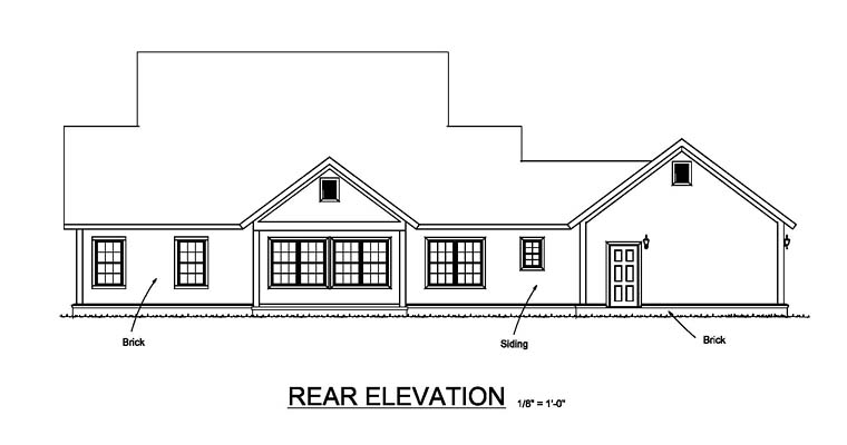 Country Farmhouse Southern Traditional House Plan 61480 Rear Elevation