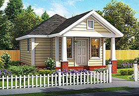 House Plan 61482 | Cottage Traditional Style Plan with 412 Sq Ft, 1 Bedrooms, 1 Bathrooms Elevation