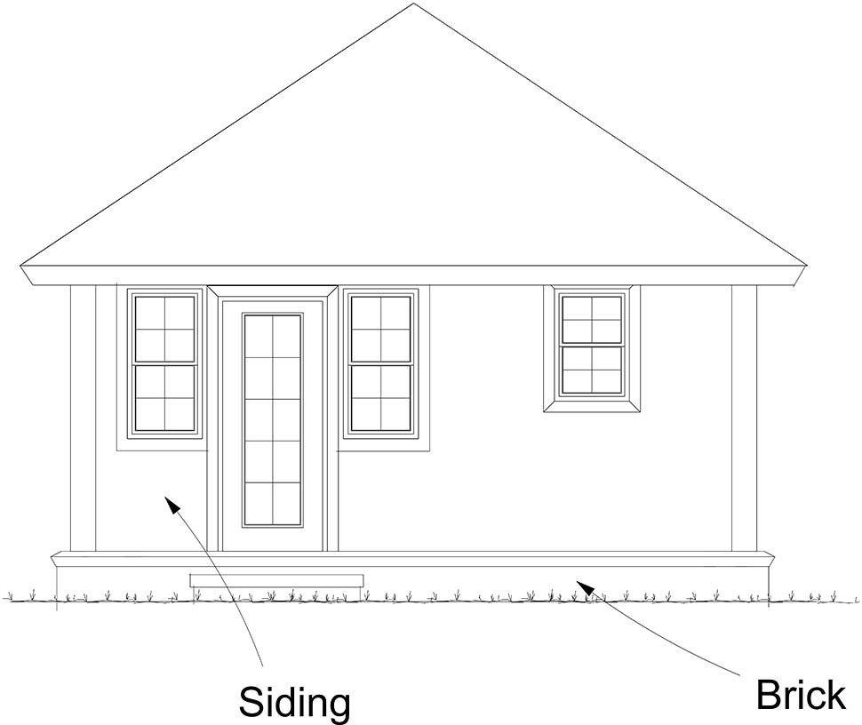 Cottage, Traditional House Plan 61482 with 1 Beds, 1 Baths Rear Elevation