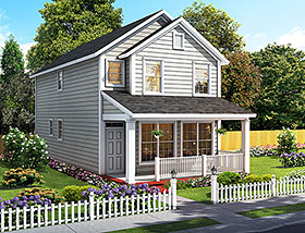 Cottage , Traditional House Plan 61483 with 2 Beds, 3 Baths Elevation