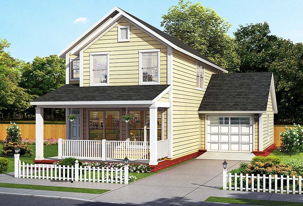 Cottage, Traditional House Plan 61484 with 2 Beds, 3 Baths, 1 Car Garage Elevation