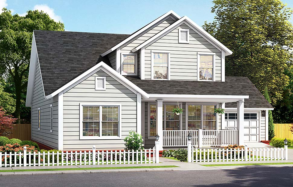 Cottage, Traditional House Plan 61485 with 4 Beds, 4 Baths, 2 Car Garage Elevation