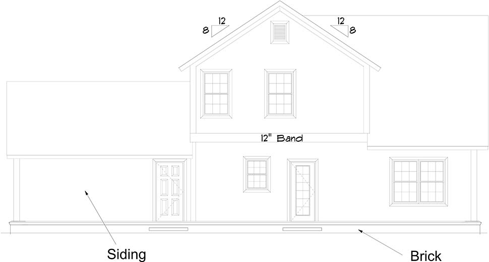 Cottage, Traditional House Plan 61485 with 4 Beds, 4 Baths, 2 Car Garage Rear Elevation
