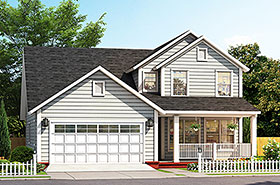 House Plan 61487 | Cottage Traditional Style Plan with 2075 Sq Ft, 3 Bedrooms, 4 Bathrooms, 2 Car Garage Elevation