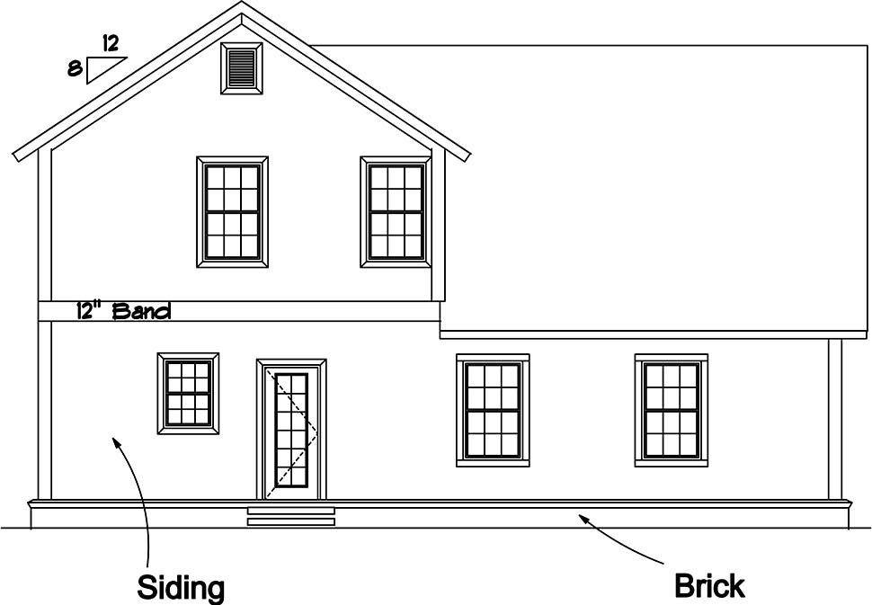 Cottage Traditional Rear Elevation of Plan 61487