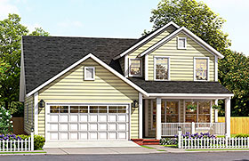 Cottage , Traditional House Plan 61488 with 4 Beds, 4 Baths, 2 Car Garage Elevation