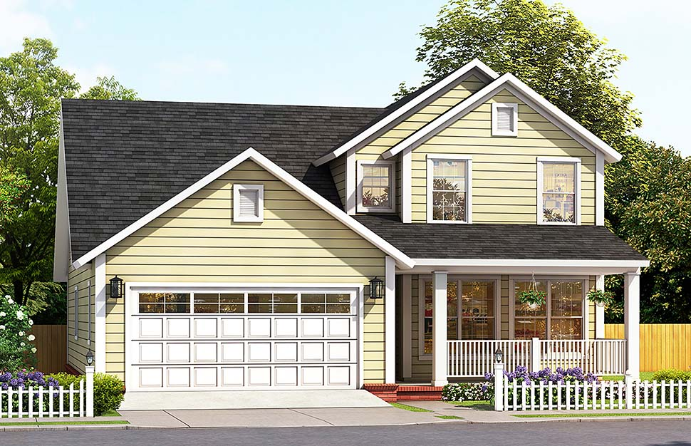 Cottage , Traditional , Elevation of Plan 61488