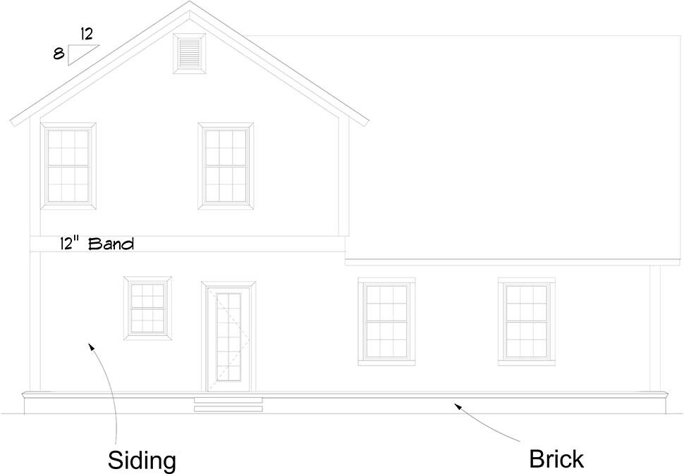 Cottage , Traditional , Rear Elevation of Plan 61488