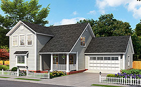 House Plan 61489 | Cottage Traditional Style Plan with 1878 Sq Ft, 3 Bedrooms, 4 Bathrooms, 2 Car Garage Elevation