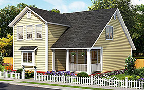 Traditional , Cottage House Plan 61490 with 3 Beds, 4 Baths Elevation