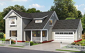 House Plan 61491 | Cottage Traditional Style Plan with 2137 Sq Ft, 4 Bedrooms, 5 Bathrooms, 2 Car Garage Elevation