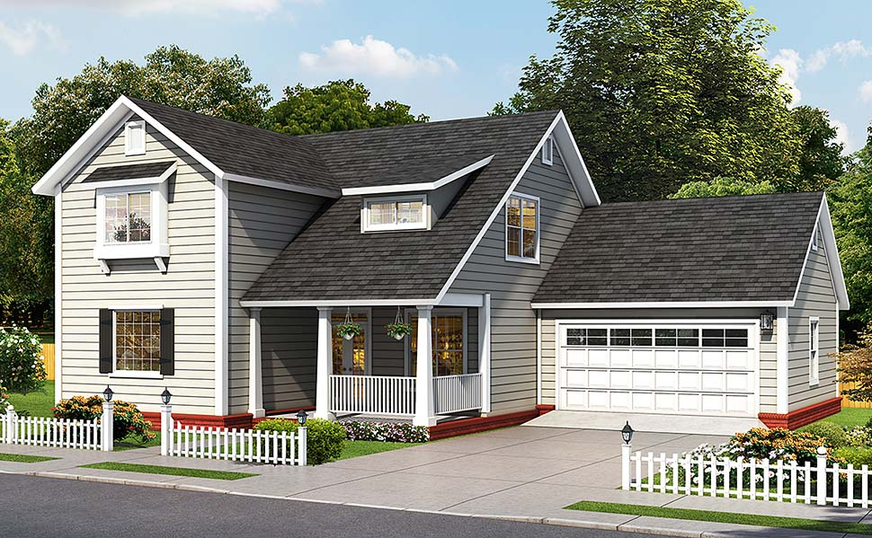 Cottage, Traditional House Plan 61491 with 4 Beds, 5 Baths, 2 Car Garage Elevation