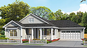 Traditional , Cottage House Plan 61493 with 3 Beds, 2 Baths, 2 Car Garage Elevation