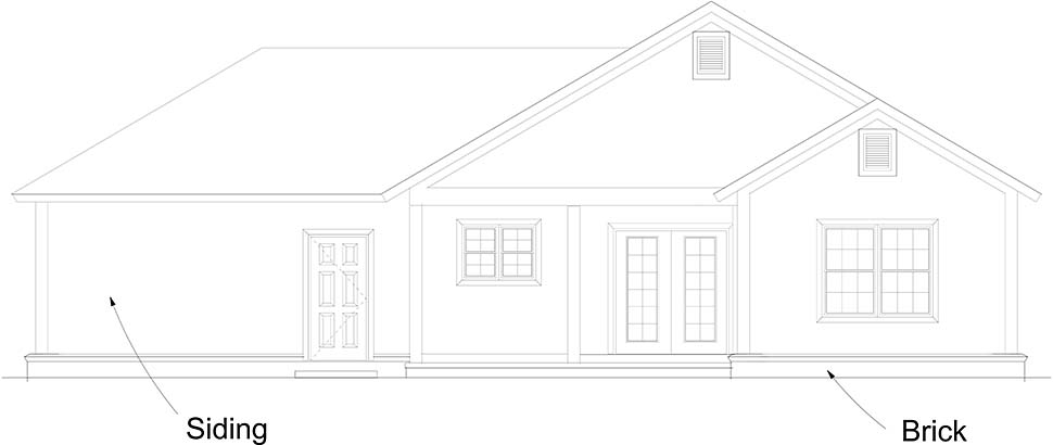 Cottage Traditional Rear Elevation of Plan 61493