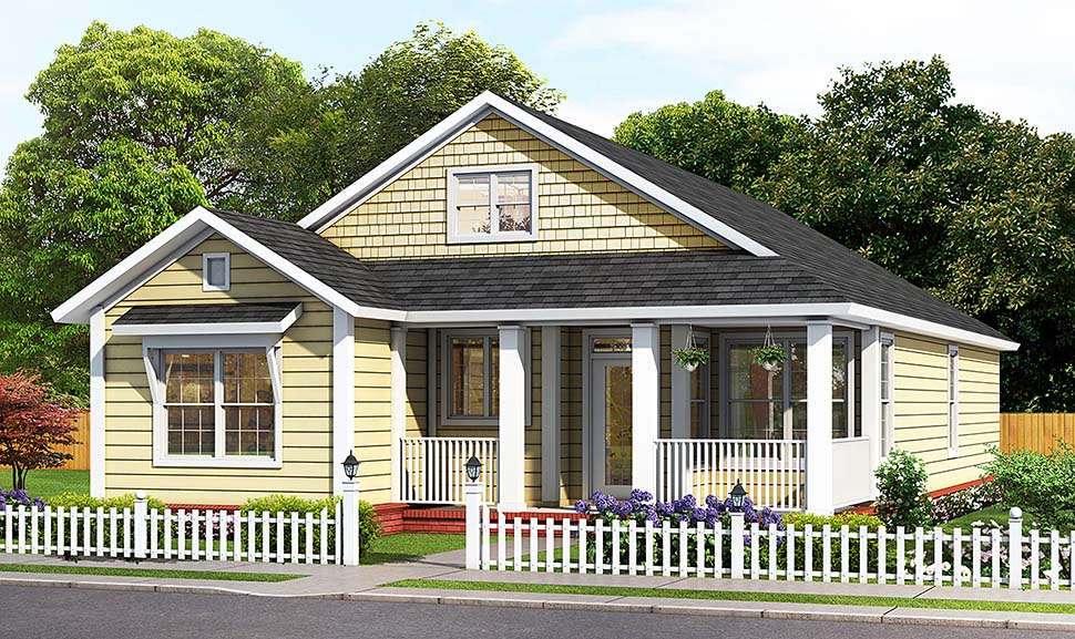 Cottage, Traditional House Plan 61494 with 3 Beds, 2 Baths Elevation