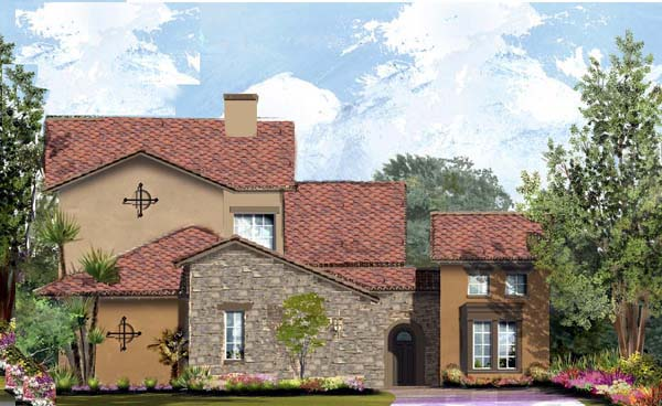 Southwest, Tuscan House Plan 61570 with 3 Beds, 4 Baths, 2 Car Garage Elevation