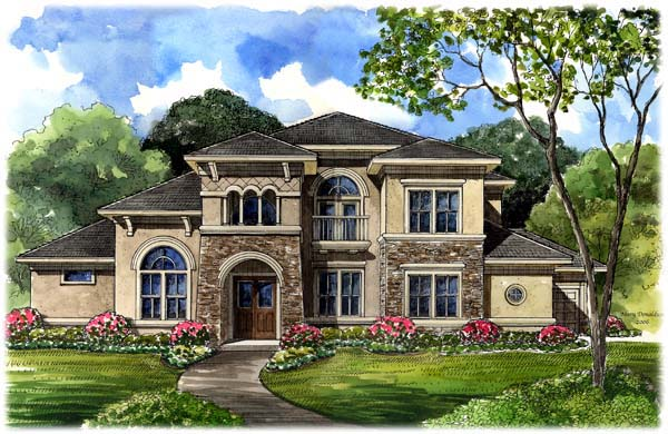 Italian, Mediterranean, Tuscan House Plan 61749 with 5 Beds, 6 Baths, 3 Car Garage Front Elevation