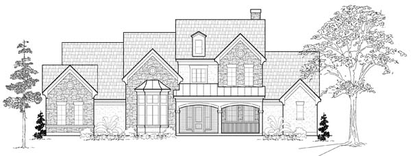 Tudor House Plan 61763 with 5 Beds, 6 Baths, 3 Car Garage Elevation