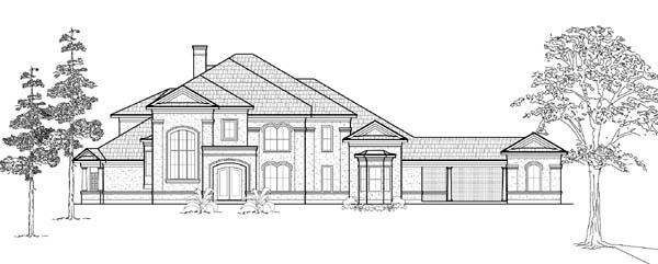 European House Plan 61818 Elevation