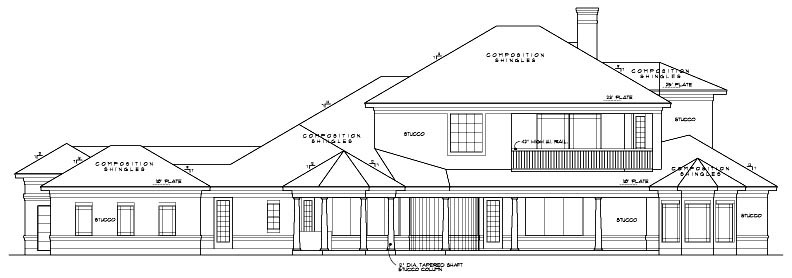European House Plan 61818 Rear Elevation