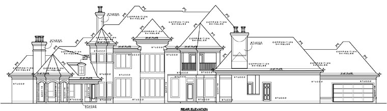 European House Plan 61829 Rear Elevation