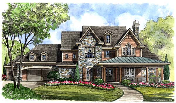European House Plan 61833 with 4 Beds, 5 Baths, 3 Car Garage Elevation