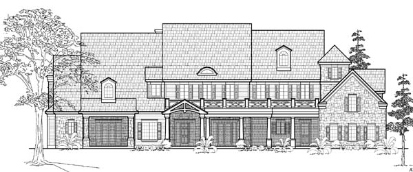 Traditional House Plan 61834 with 5 Beds, 6 Baths, 4 Car Garage Elevation