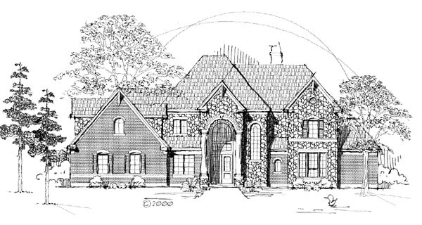 Tudor House Plan 61892 with 3 Beds, 4 Baths, 2 Car Garage Elevation