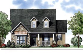 European House Plan 62000 with 3 Beds, 2 Baths, 2 Car Garage Elevation