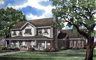 Colonial, Country House Plan 62002 with 4 Beds, 3 Baths, 2 Car Garage Elevation