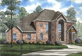European , Southern House Plan 62005 with 3 Beds, 3 Baths, 2 Car Garage Elevation