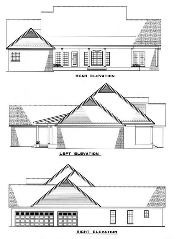 Southern , Country , Rear Elevation of Plan 62006