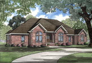 European House Plan 62007 with 3 Beds, 3 Baths, 2 Car Garage Elevation
