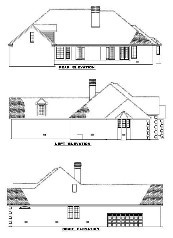 European House Plan 62007 Rear Elevation